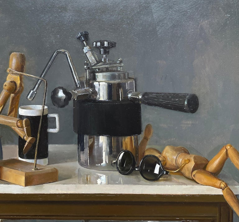 American Still Life with Italian Coffee Maker, Lay Figures & Bowls, Original Oil Painting For Sale