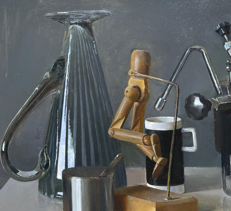 Hand-Painted Still Life with Italian Coffee Maker, Lay Figures & Bowls, Original Oil Painting For Sale