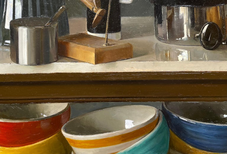 Still Life with Italian Coffee Maker, Lay Figures & Bowls, Original Oil Painting In New Condition For Sale In Chicago, IL
