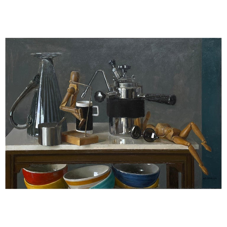 Still Life with Italian Coffee Maker, Lay Figures & Bowls, Original Oil Painting For Sale