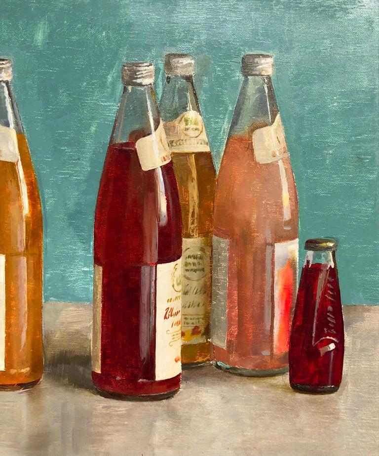Mid-Century Modern Still Life with Italian Soda Bottles, Original Oil Painting, Framed For Sale