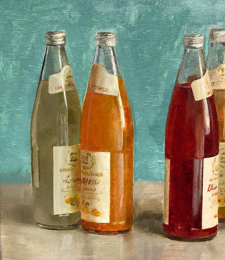 American Still Life with Italian Soda Bottles, Original Oil Painting, Framed For Sale