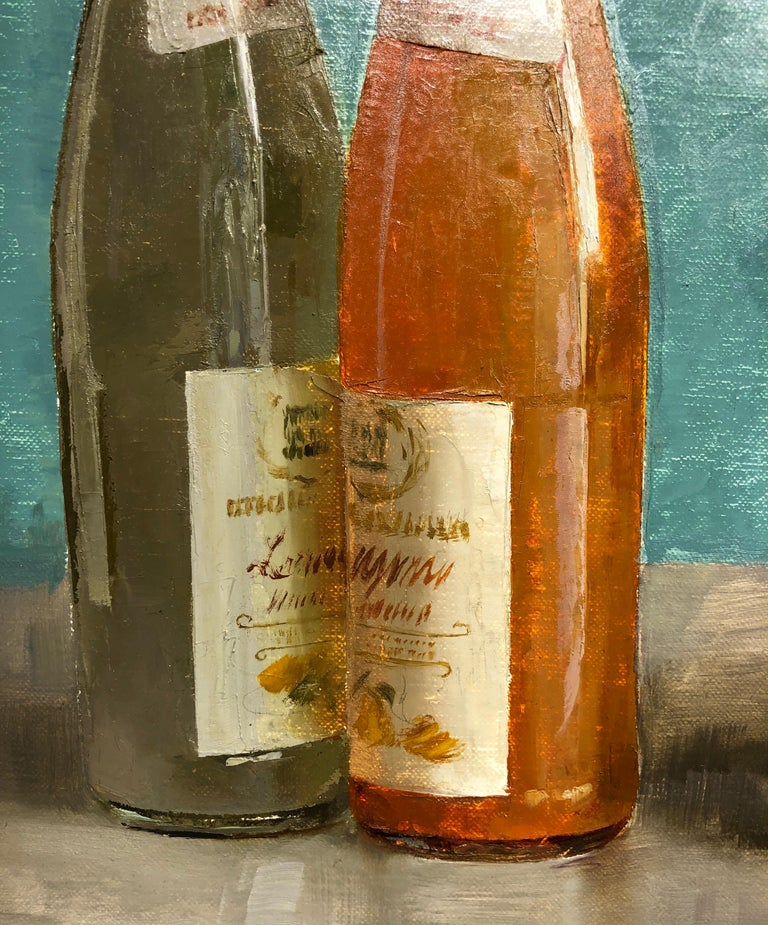 Hand-Painted Still Life with Italian Soda Bottles, Original Oil Painting, Framed For Sale