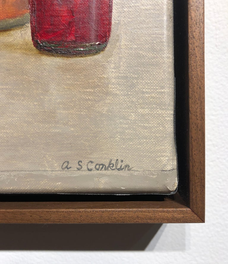 Still Life with Italian Soda Bottles, Original Oil Painting, Framed In New Condition For Sale In Chicago, IL