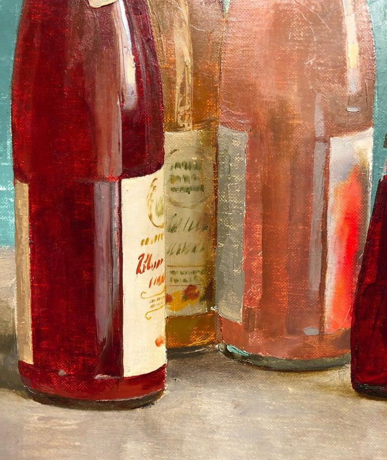 Contemporary Still Life with Italian Soda Bottles, Original Oil Painting, Framed For Sale