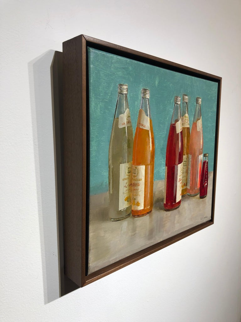 Still Life with Italian Soda Bottles, Original Oil Painting, Framed For Sale 1