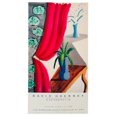 Vintage Poster Original Still Life with Magenta Curtain David Hockney 1988 Art