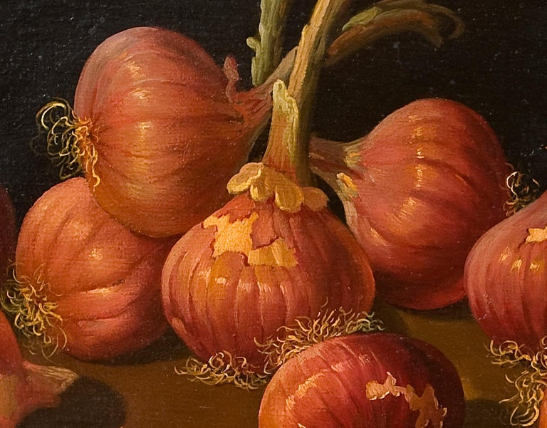 Other Still Life with Onions, Oil on Board, Millán Rodríguez, Manuel Ventura, Spain For Sale