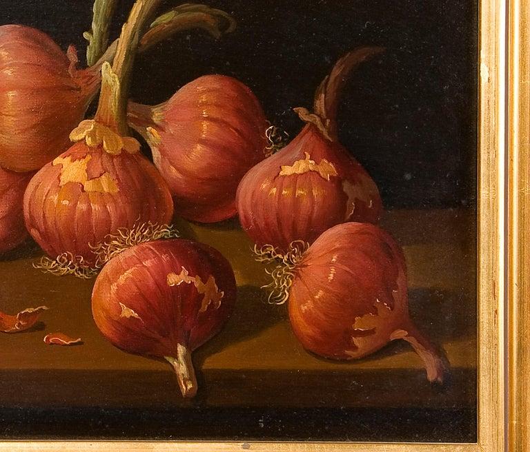 Spanish Still Life with Onions, Oil on Board, Millán Rodríguez, Manuel Ventura, Spain For Sale