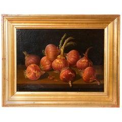 Still Life with Onions, Oil on Board, Millán Rodríguez, Manuel Ventura, Spain