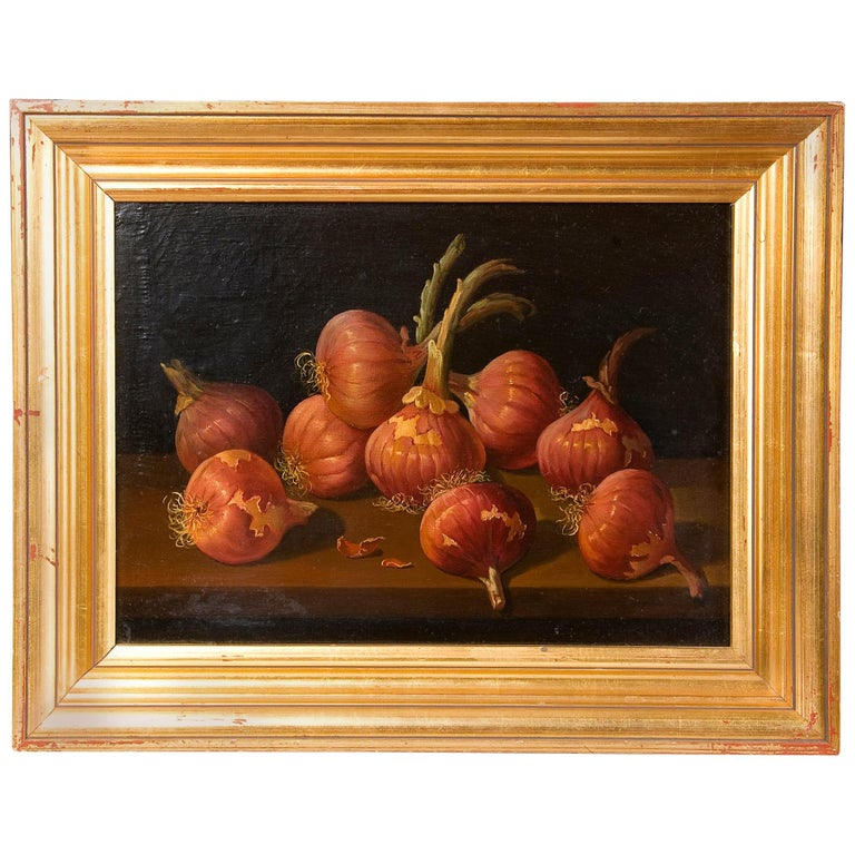 Still Life with Onions, Oil on Board, Millán Rodríguez, Manuel Ventura, Spain For Sale