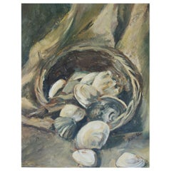 Still Life with Oysters, Oil on Board Painting