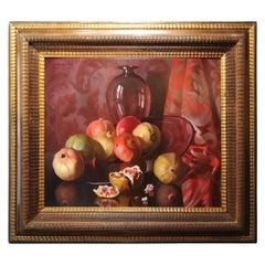 Still Life with Pomegranates, Bruno Croatto 20th Century Oil Italian Painting