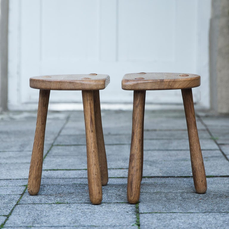 Scandinavian Modern Stilmobler Oak Stool Set of 2 For Sale