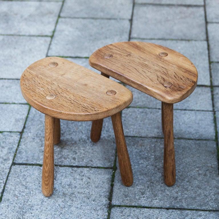 Danish Stilmobler Oak Stool Set of 2 For Sale