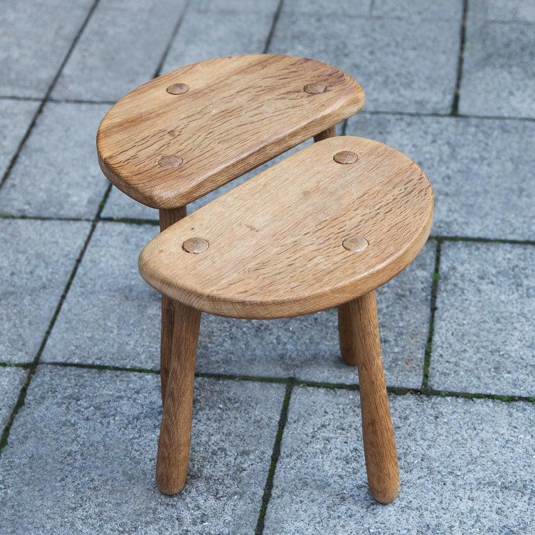 Mid-20th Century Stilmobler Oak Stool Set of 2 For Sale