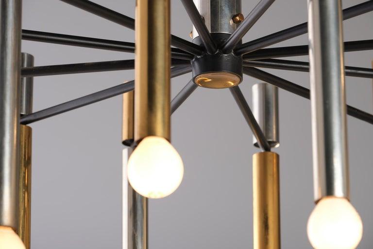 Stilnovo 12-Lights Chandelier in Brass and Aluminium, 1970 circa 3