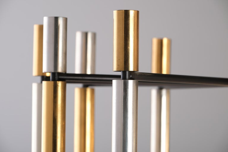 Stilnovo 12-Lights Chandelier in Brass and Aluminium, 1970 circa 5