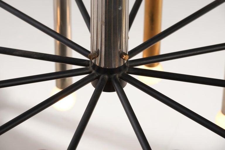 Stilnovo 12-Lights Chandelier in Brass and Aluminium, 1970 circa 7