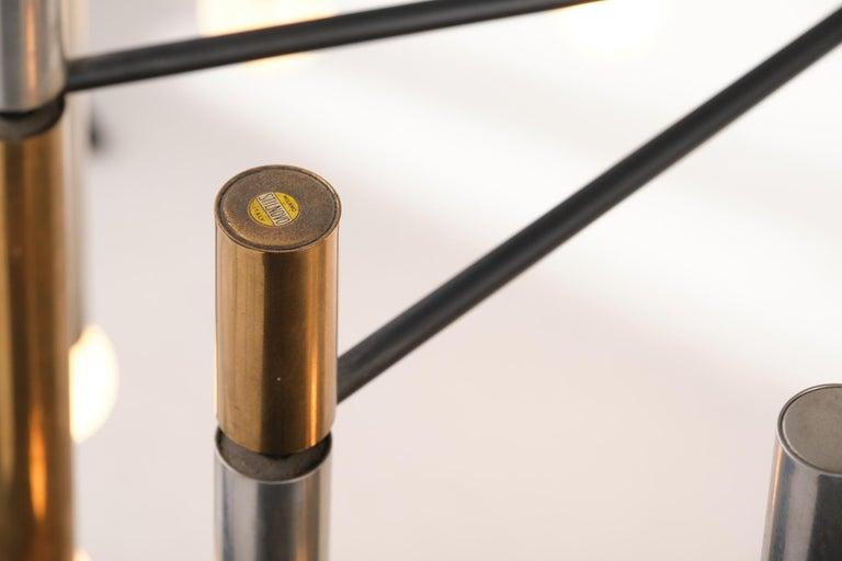 Stilnovo 12-Lights Chandelier in Brass and Aluminium, 1970 circa 9