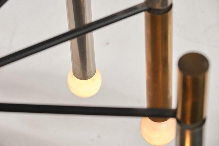 Stilnovo 12-Lights Chandelier in Brass and Aluminium, 1970 circa 12
