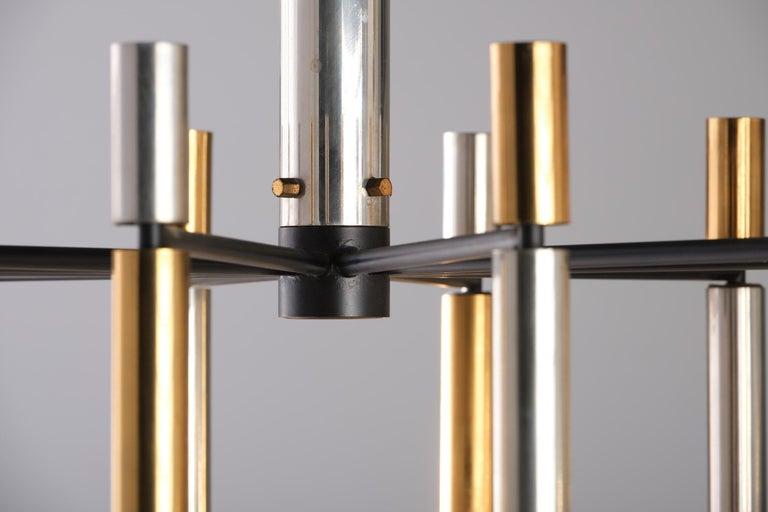 Italian Stilnovo 12-Lights Chandelier in Brass and Aluminium, 1970 circa