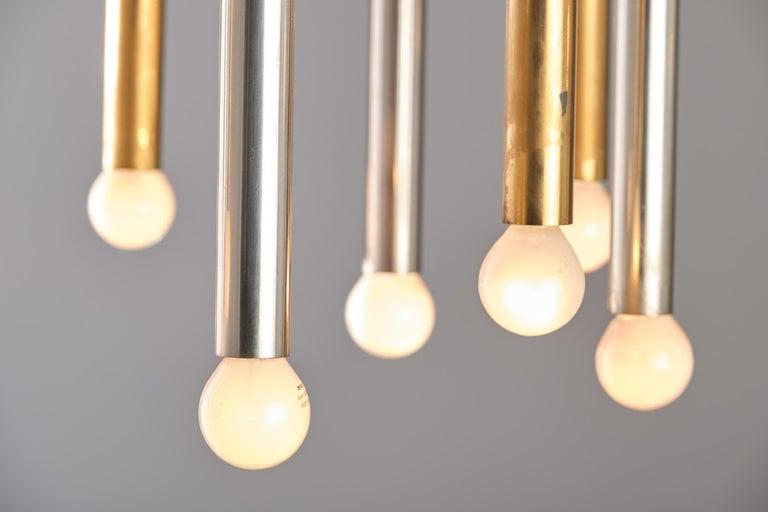 Metal Stilnovo 12-Lights Chandelier in Brass and Aluminium, 1970 circa