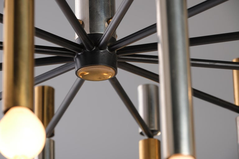 Stilnovo 12-Lights Chandelier in Brass and Aluminium, 1970 circa 2