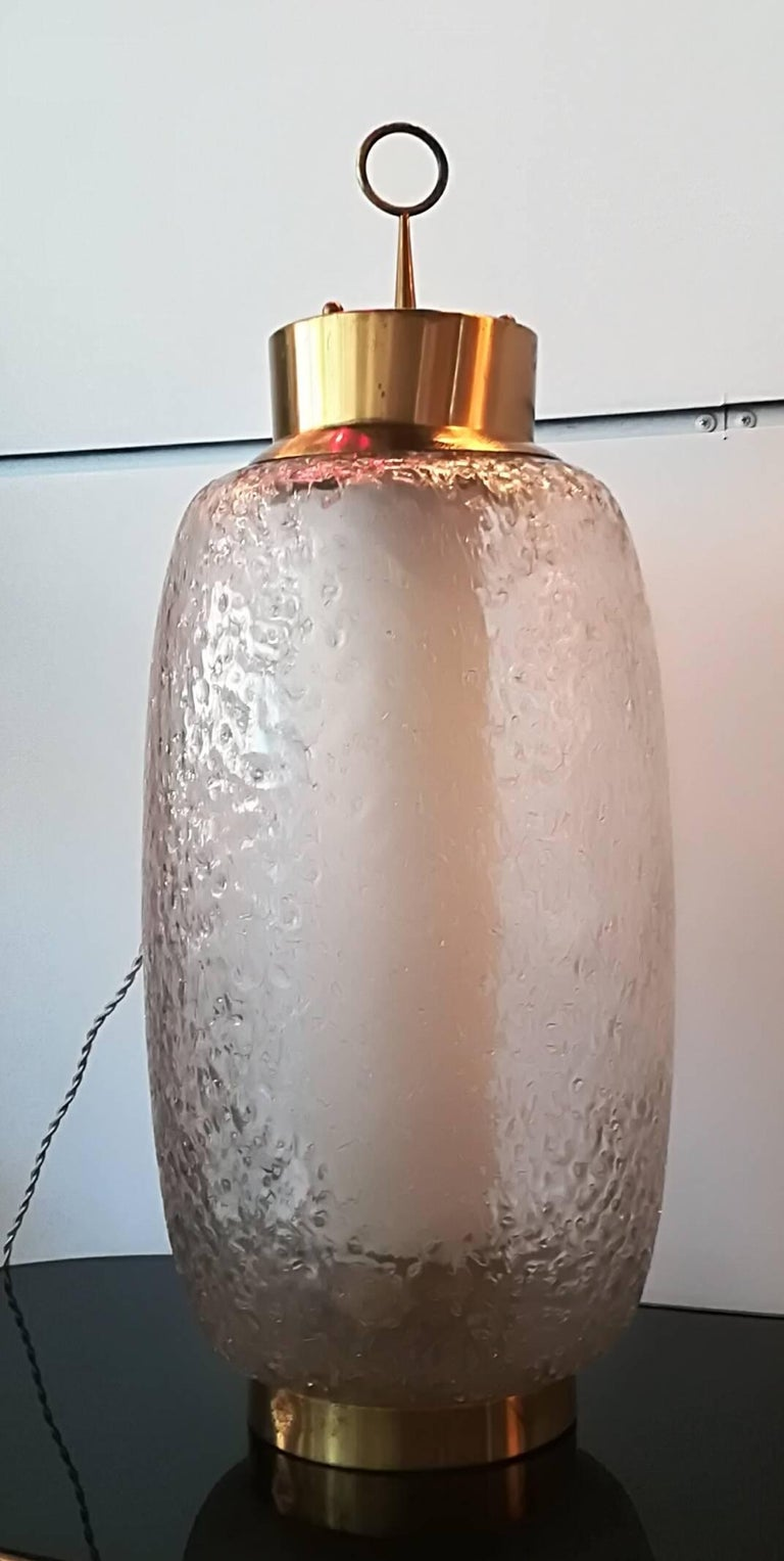 Other Stilnovo 1950, Table Lamp Brass and Glass For Sale
