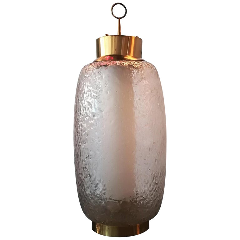 Stilnovo 1950, Table Lamp Brass and Glass For Sale