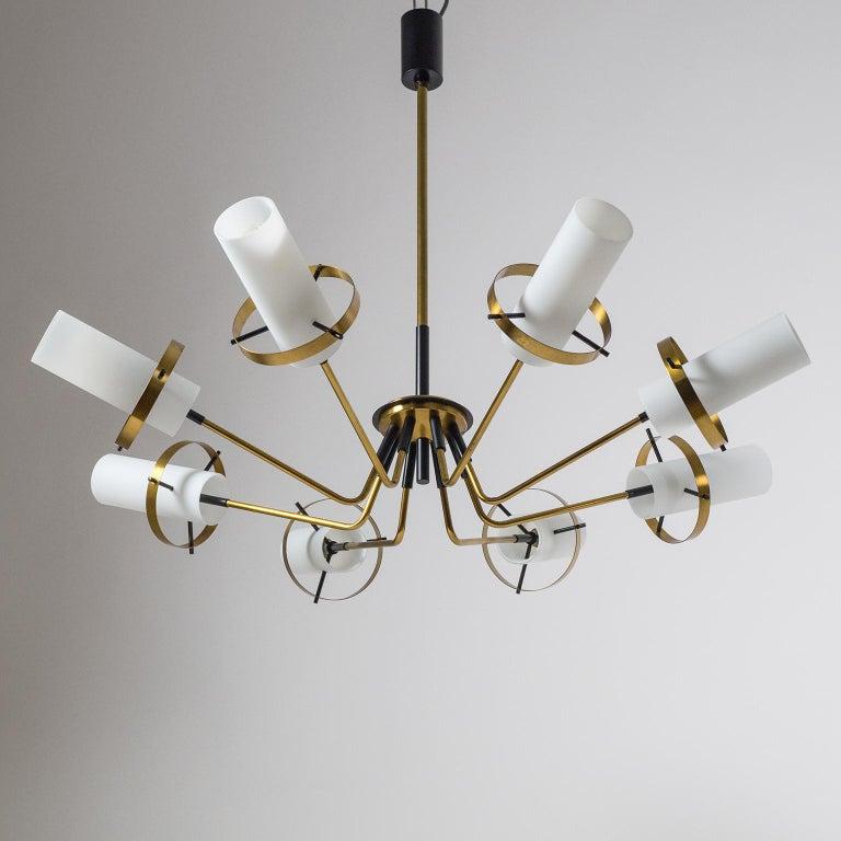 Modernist Chandelier, Stilnovo (Attr.), circa 1958, Brass and Satin Glass For Sale 10