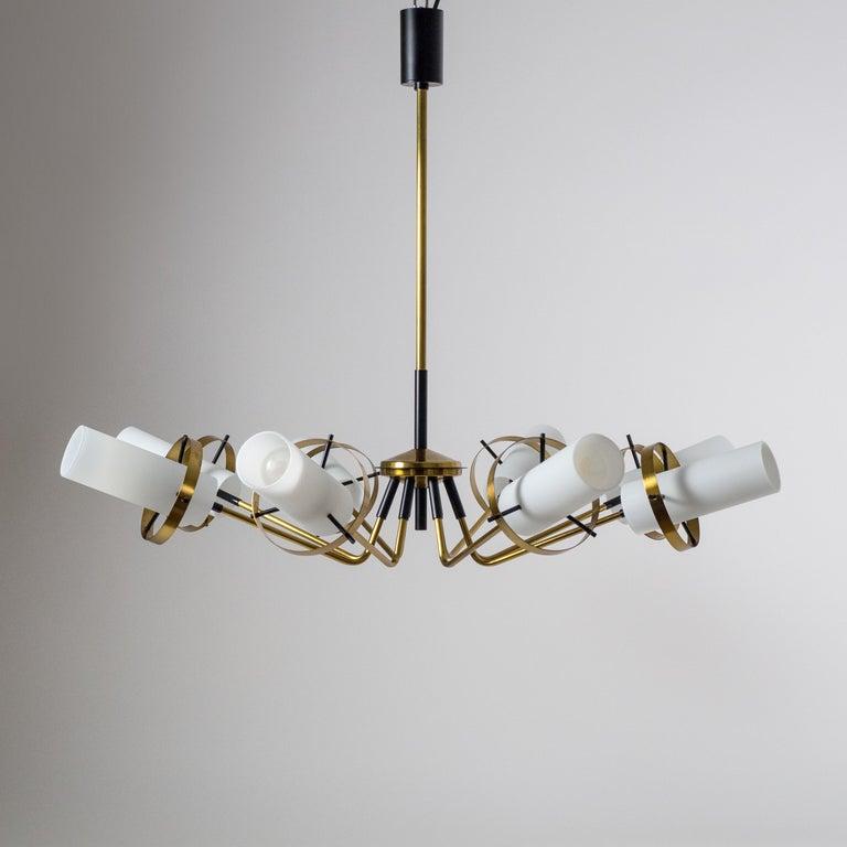 Mid-Century Modern Modernist Chandelier, Stilnovo (Attr.), circa 1958, Brass and Satin Glass For Sale