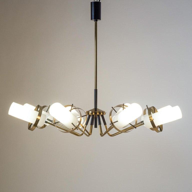 Italian Modernist Chandelier, Stilnovo (Attr.), circa 1958, Brass and Satin Glass For Sale