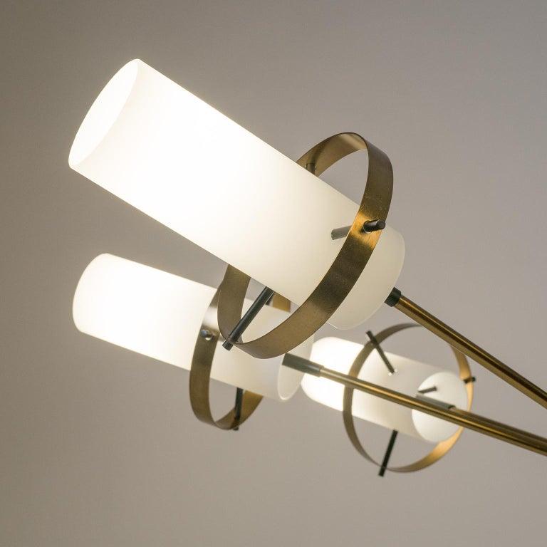 Modernist Chandelier, Stilnovo (Attr.), circa 1958, Brass and Satin Glass In Good Condition For Sale In Vienna, AT