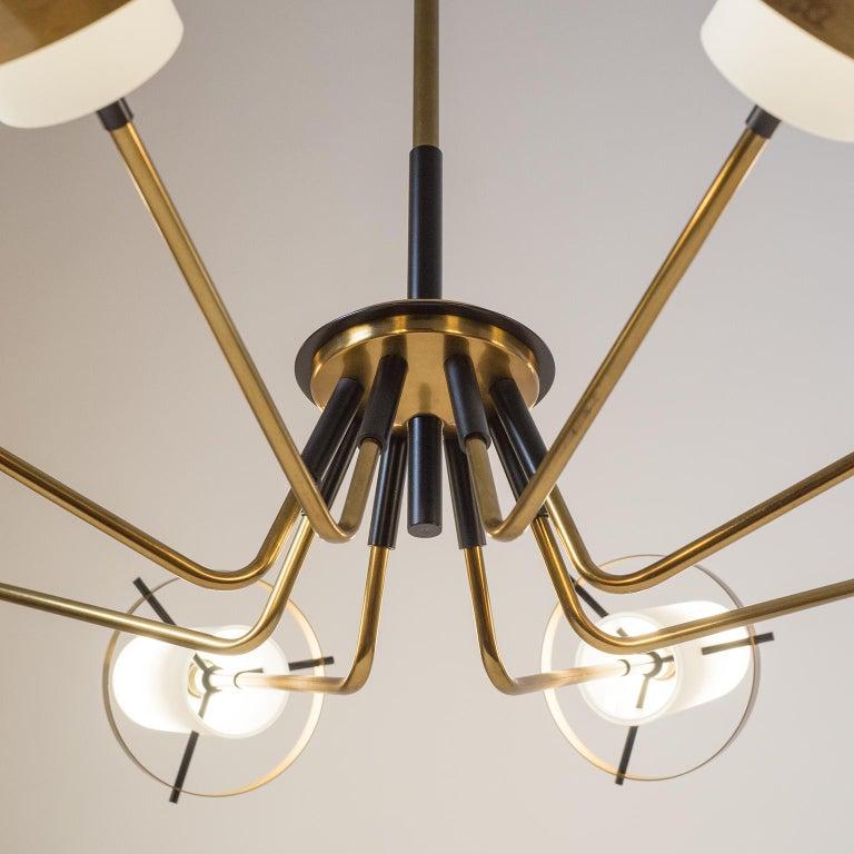 Mid-20th Century Modernist Chandelier, Stilnovo (Attr.), circa 1958, Brass and Satin Glass For Sale