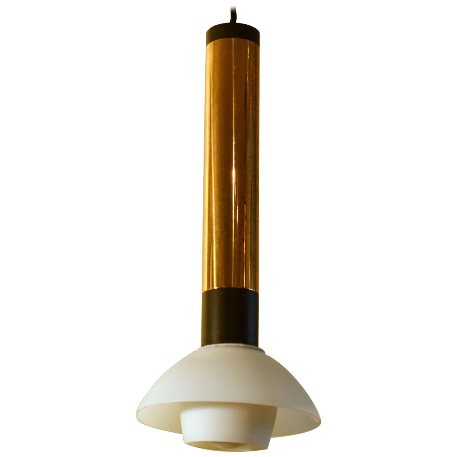 Stilnovo 1950s Italian Pendant Lamp with Opaline Glass Diffuser