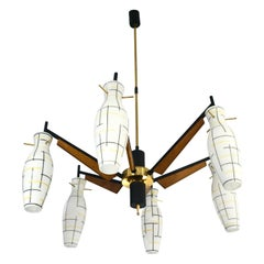 1958 Italian Frosted Glass 6-Light Brass Chandelier Attributed to Stilnovo