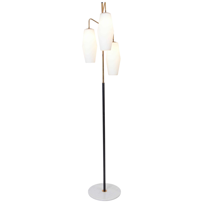 Stilnovo '4052' Model Opaline Floor Lamp