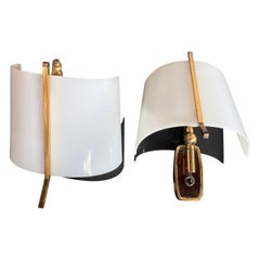 Stilnovo a Pair of Brass and Plexiglass Wall Lights, Italy, 1950s