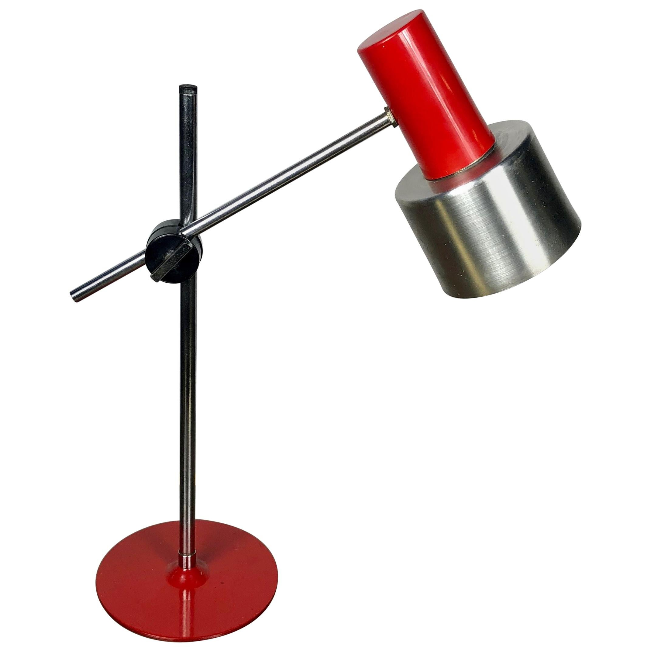 Stilnovo Adjustable Table Lamp Red, Metal, Aluminium, Italy Lighting, 1960s