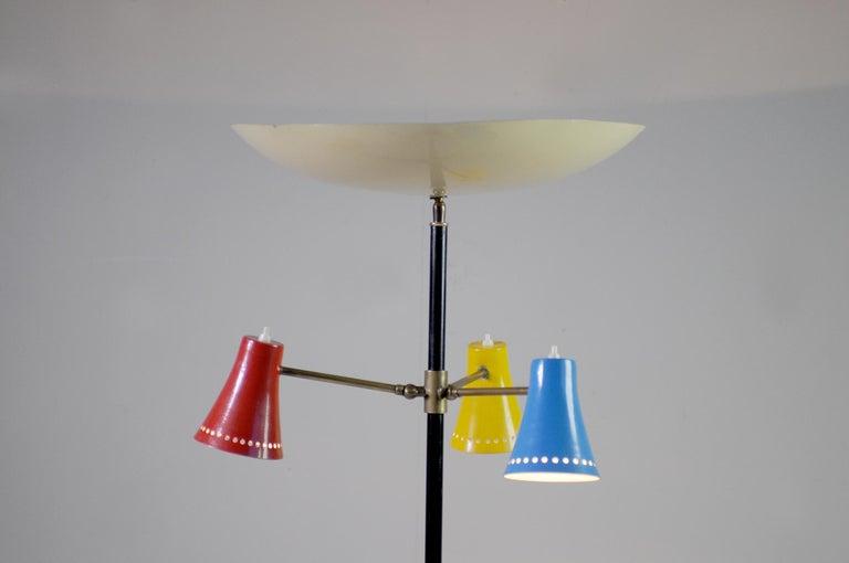 Mid-Century Modern Stilnovo, Adjustable Tripod Floor Lamp, Italy, 1950 For Sale