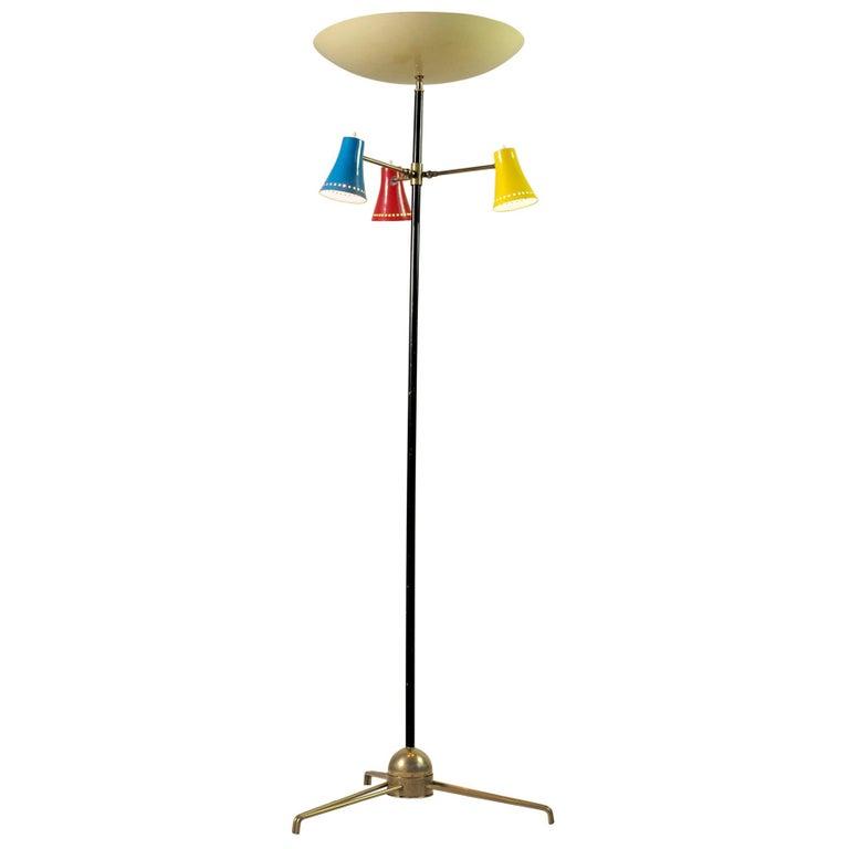 Stilnovo, Adjustable Tripod Floor Lamp, Italy, 1950 For Sale