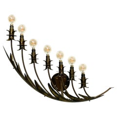 Stilnovo Airy Wall Sconce Seven Arm Floating Flower Petal Lamp Brass 1950s Italy