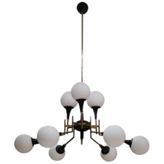 Stilnovo, an Opaline Glass and Brass Midcentury Ceiling Lamp, Italy, 1950