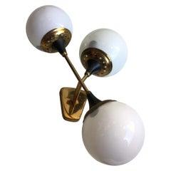 Stilnovo Applique Glass Brass, 1950, Italy