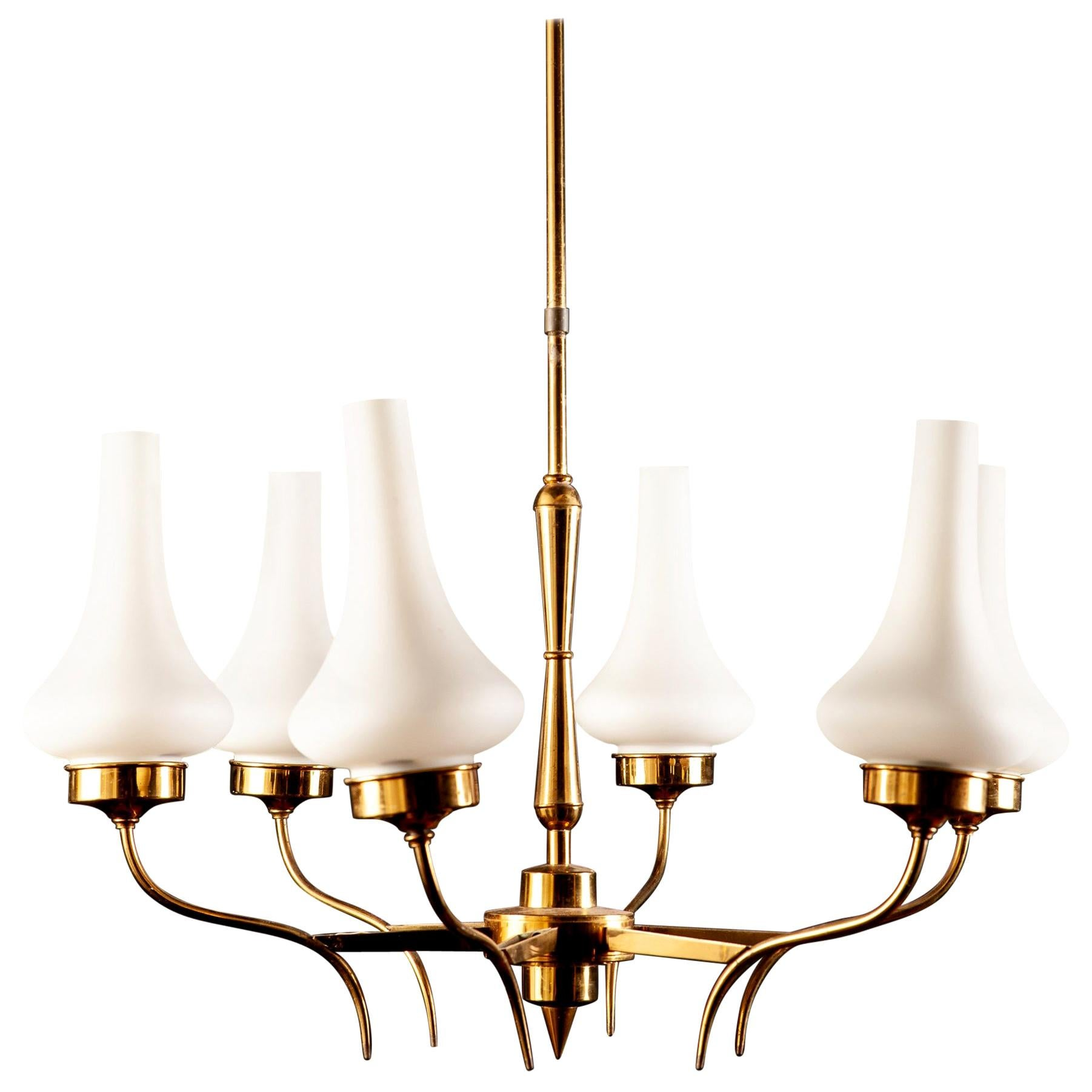Stilnovo Attributed Brass and Murano Glass Chandelier, Italy, 1960s