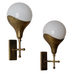 Stilnovo 'Attribution' Modernist Wall Lights / Sconces, Glass Brass, Italy 1950s