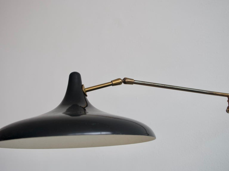 Stilnovo Brass and Black Lacquered Metal Wall Lamp In Good Condition In Madrid, ES
