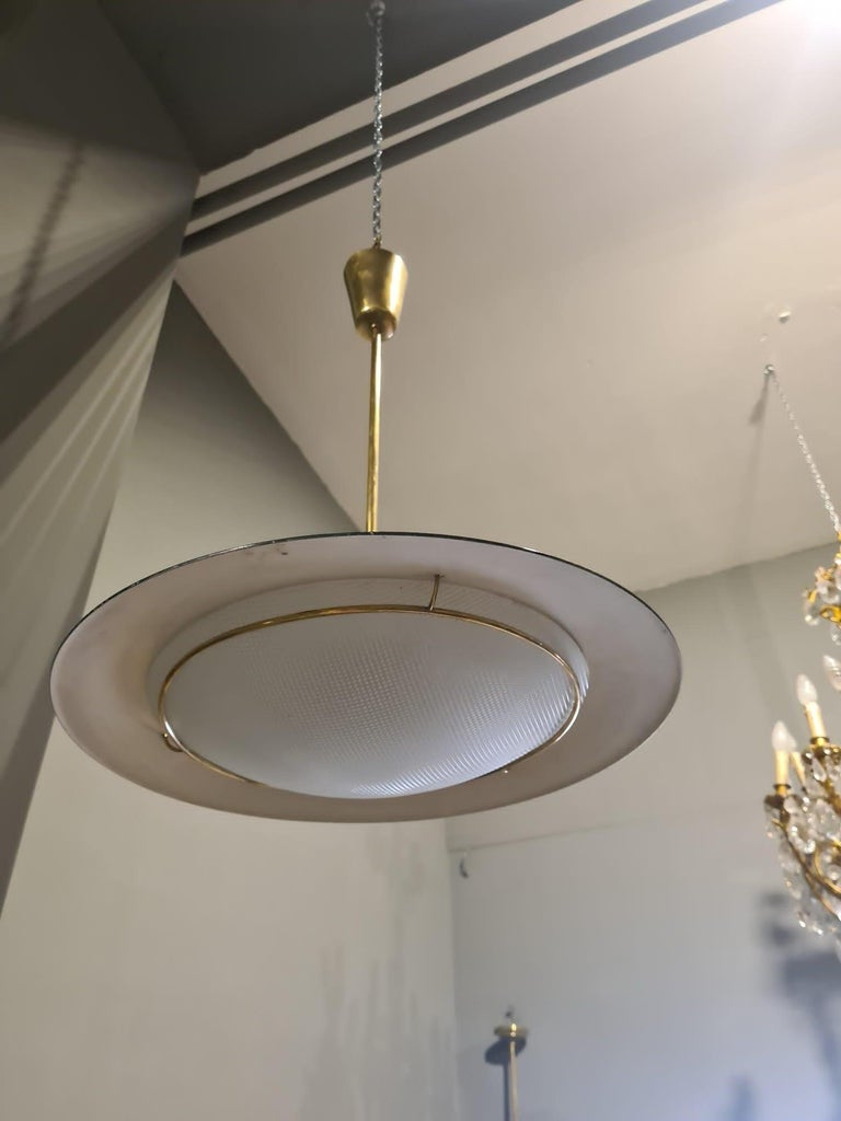 Stilnovo Brass and Glass Chandelier from the 1950s For Sale 5