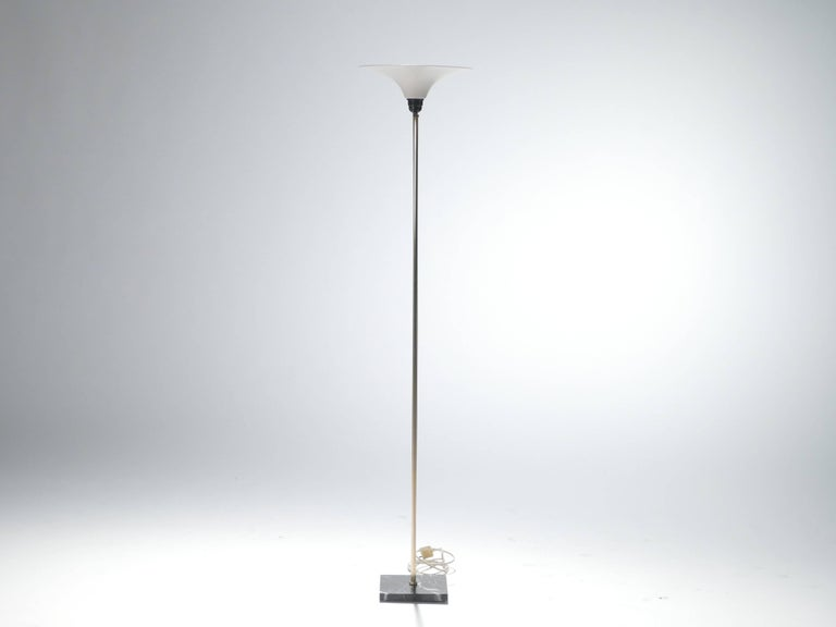Mid-Century Modern Stilnovo Brass and Opaline Floor Lamp, 1960s For Sale
